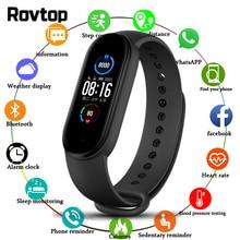 M5 relógio inteligente pulseira de freqüência cardíaca pressão arterial saúde à prova dwaterproof água relógio banda 5 bluetooth pulseira de fitness rastreador