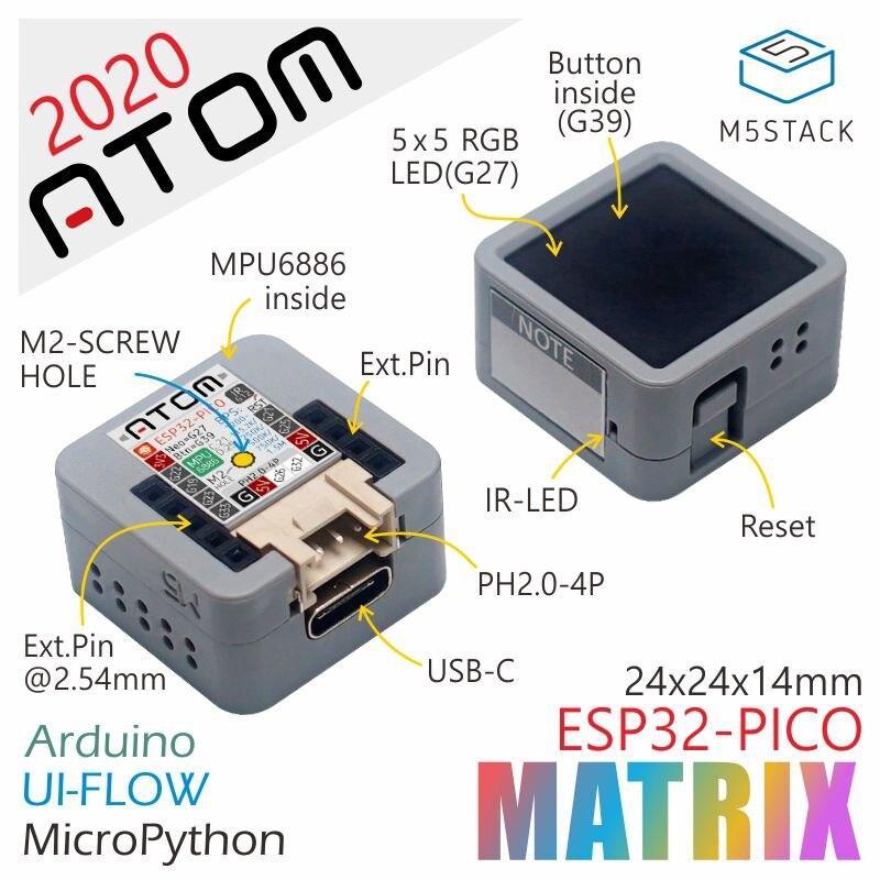 M5Stack Chính Thức 2020 Hàng Mới Về Nguyên Tử Ma Trận ESP32 Pico Bộ Phát Triển Arduino IMU Cảm Biến Trăn