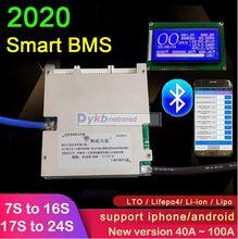 2020 Smart 7S ~ 24S 50A 100A Li-Ion Lifepo4 Lto Lithium Batterij Bescherming Boord 8S 10S 12S 13S 14S 16S 20 S Lcd Bluetooth App