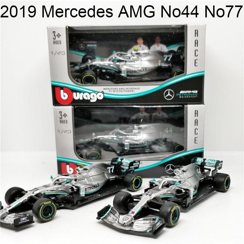 Bburago 1/43 1:43 Scale 2019 W10 Mercedes AMG Petronas No 44 77 F1 Formula 1 Racing Car Diecast Plastic Model Children Toy