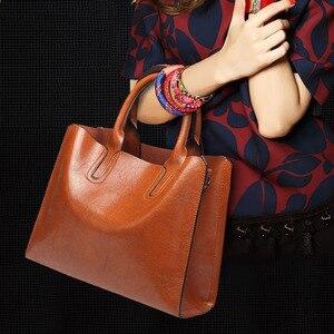 Image 5 - למעלה ידית תיקי עור Tote תיק נשים תיקי אופנה גדול כתף Crossbody תיק בציר גבירותיי שחור תיק Sac עיקרי Femme