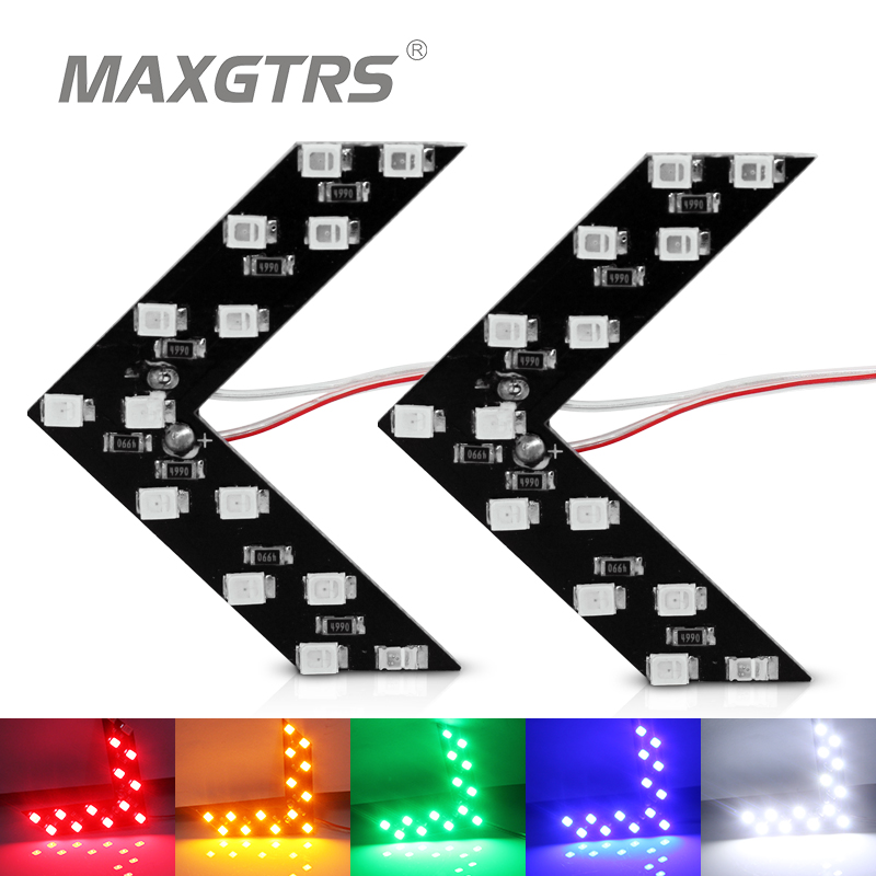 2Pcs/lot Car Hidden Arrow Panel <font><b>14</b></font> <font><b>Smd</b></font> 3528 Rearview Side Mirror Led Decorative Lights Reverse Direction Turn Signal Lamp image