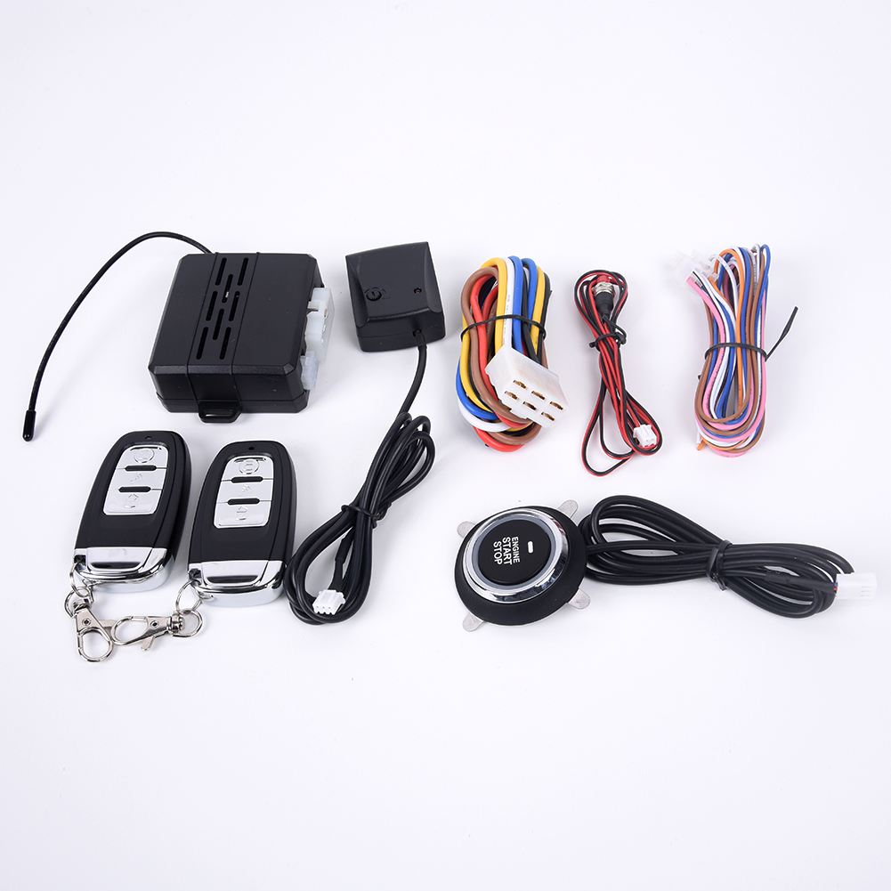 Car Auto Alarm Keyless Entry Ignition Engine System Push Button Remotes Kits image