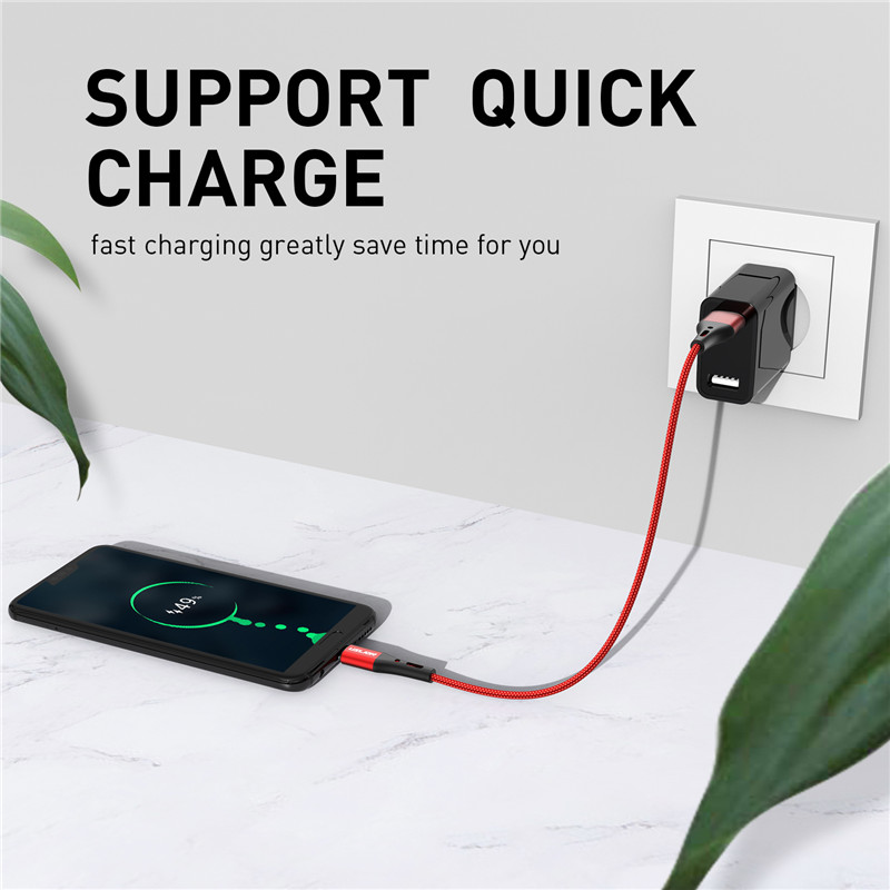 USLION 3A USB Type C Cable Fast Charging Wire for Samsung Galaxy S8 S9 Plus Xiaomi mi9 Huawei Mobile Phone USB C Charger Cable 1
