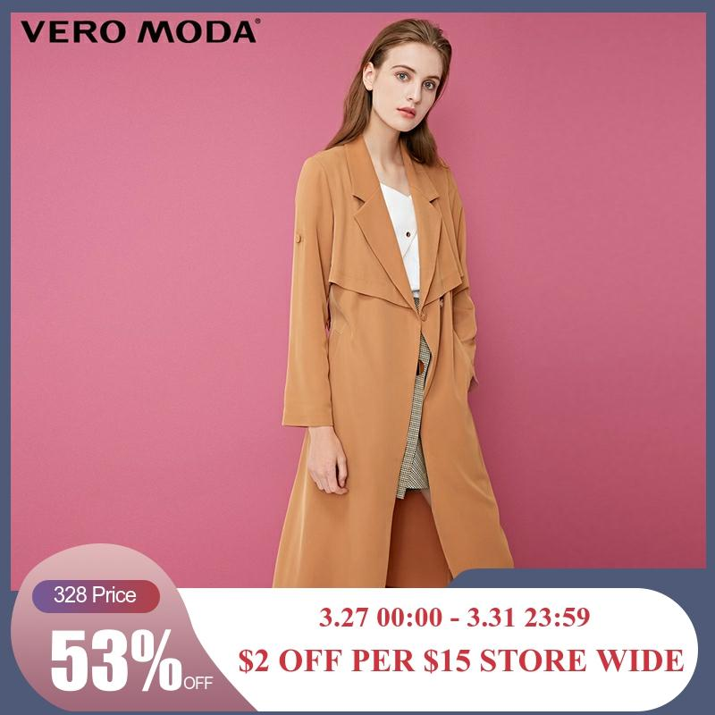 Vero Moda Back Cover Lapel Lace-up Long Pure Trench Coat | 318321541
