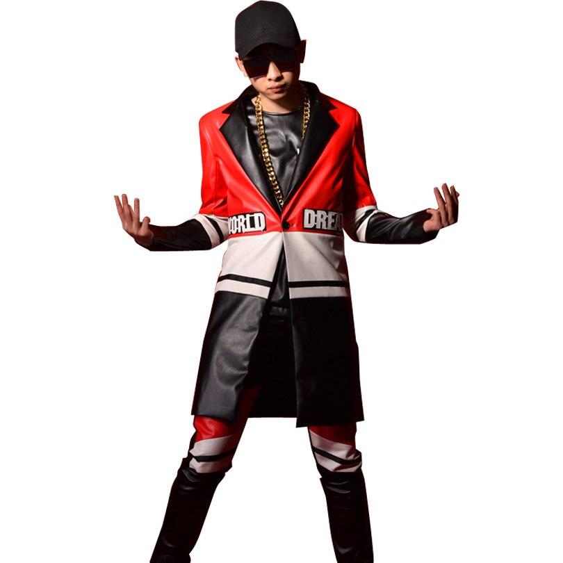 Men Fashion Casual Leather Suit Coat Colors Splice Male Long Suit Blazers Jacket Singer Dancer Custom Stage Wear Costumes