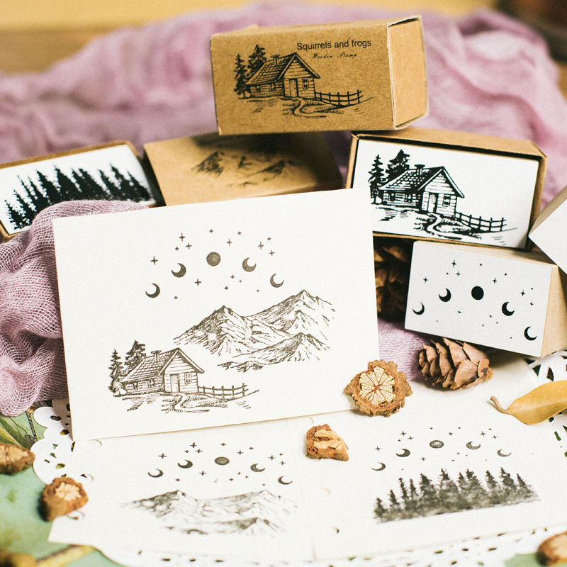 Image 3 - XINAHER Vintage Plants ginkgo star moon stamp DIY wooden rubber stamps for scrapbooking stationery scrapbooking standard stamp-in Stamps from Home & Garden