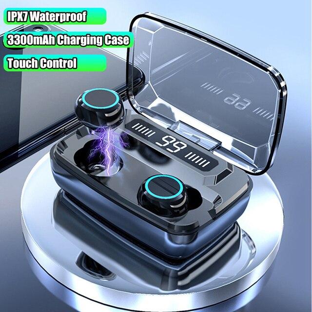 True Wireless Headphones Touch Bluetooth 5.0 Earphone HiFi Heavy Bass Earphones IPX7 Waterproof 3300mAh Charging Box With Mic