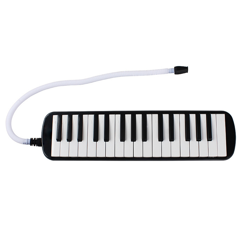 1 Set 32 Key Piano Style Melodica With Box Organ Accordion Mouthpiece Blow Keyboard (Black)