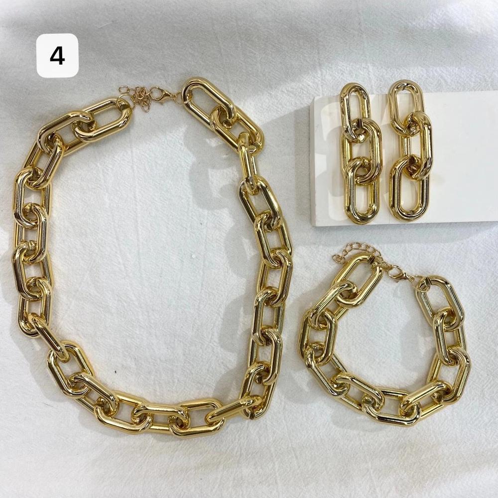 2020 New Hip Hop Big Metal Gold Thick Chain Necklace Bracelet 3 Piece Set Ladies Collar Statement Fashion Punk Short Necklace