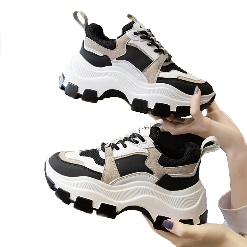 Women Chunky Sneakers Vulcanize Shoes Fashion Female White Platform Trainers Thick Bottom Running Casual Shoes Woman Daddy Shoes(China)