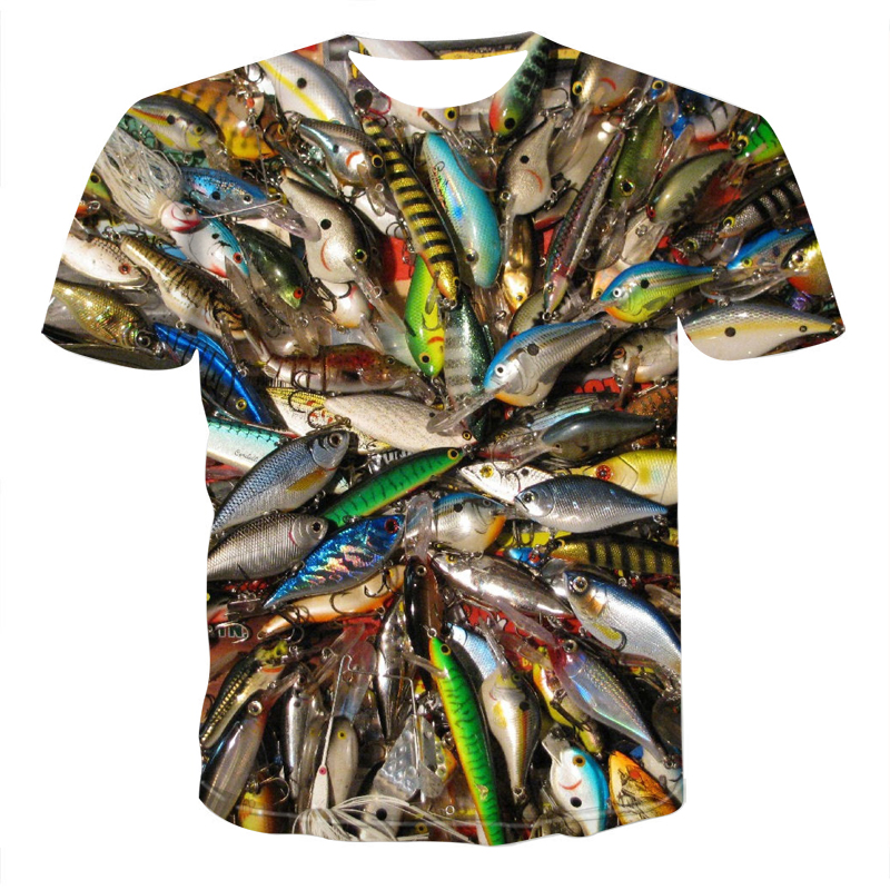 Fishing 3d T-shirt Men And Women Hip Hop Casual T-shirt 3d Print Fun Fish Harajuku Funny Fishing Rod O-neck Shirt T-shirt