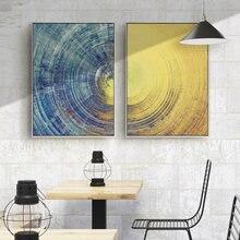 Абстрактная Настенная картина 2 шт современные синие и желтые