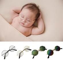 Newborn fotografia adereços bebê óculos planos menino menina cavalheiro estúdio tiro infantil fotos decoração redonda de metal óculos de sol