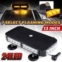 13 ''24 Led Auto Emergency Flasher Waarschuwing Strobe Light Bar Baken Lampen Dak Top Waarschuwing Led Knipperende Lichten Waterdicht amber