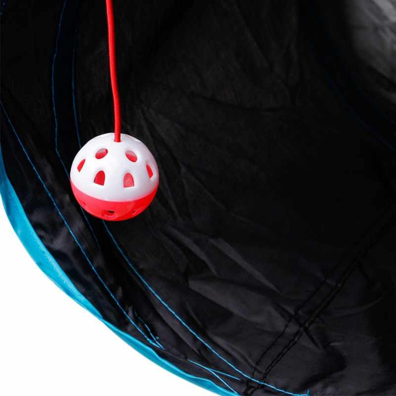 재미 있은 애완 동물 고양이 터널 1/4/5 구멍 놀이 튜브 공 접을 수있는 crinkle 새끼 고양이 장난감 강아지 흰 족제비 토끼 놀이 개 터널 튜브
