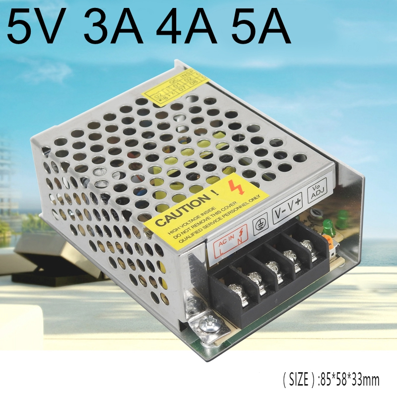 <font><b>DC</b></font> <font><b>5V</b></font> <font><b>3A</b></font> 4A 5A Regulated Switching Power Supply 15W 20W 25W <font><b>AC</b></font> <font><b>DC</b></font> SMPS input AC110V 220V universal for led display light image