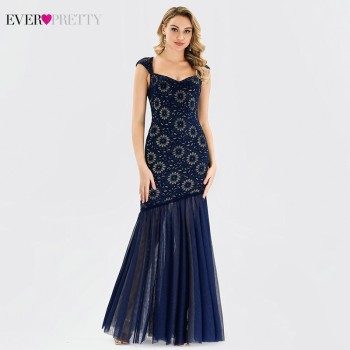 Lace Evening Dress Long Ever Pretty EP00953NB Elegant V Neck Sleeveless Navy Blue Little Mermaid Dresses Party Robe De Soiree - discount item  45% OFF Special Occasion Dresses