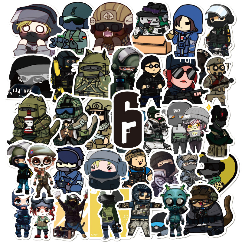 49 PCS Rainbow Six Stickers Seige R6 Operators Icon Graffiti For Moto car & suitcase(China)