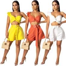 Calções femininos sexy 2 peça conjunto de roupas de verão 2020 sexy topo e curto duas peças conjunto pantalon corte mujer preto branco laranja