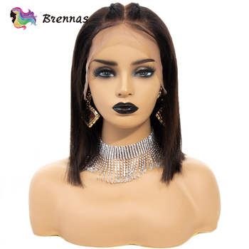 Straight short bob wig lace front human hair wigs baby hair 13x6 lace wig Brazilian human Non Remy hair natural color 8''-16''