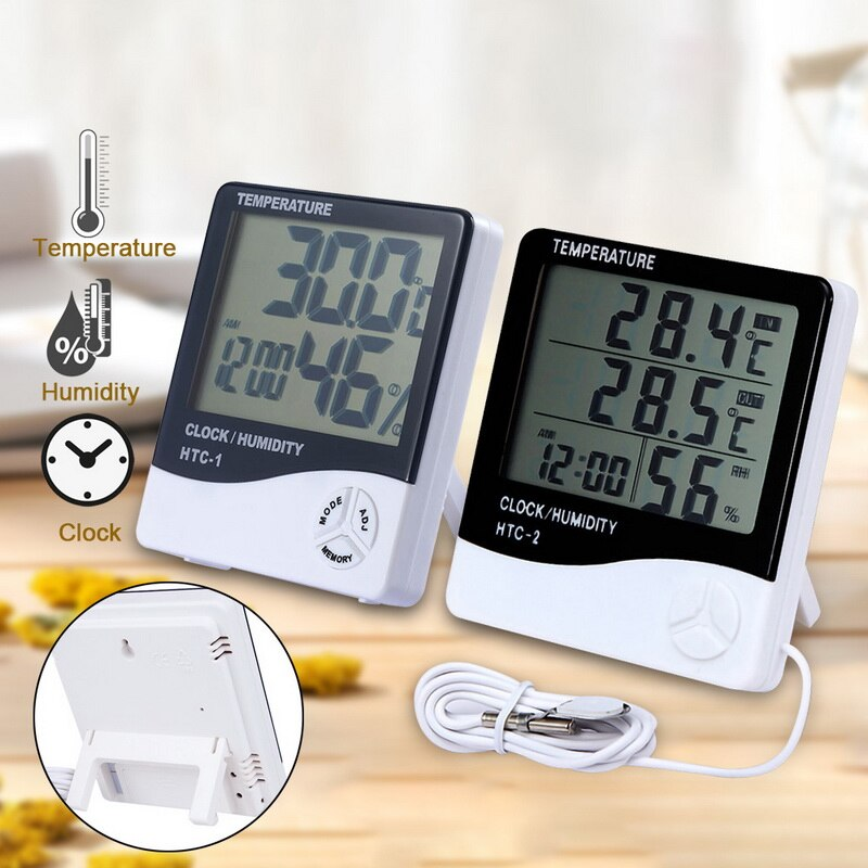 Метеостанция с часами, цифровой измеритель температуры и влажности с ЖК дисплеем, для дома и улицы