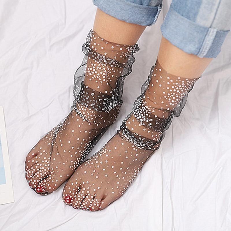 Fashion Dot Long Socks Women Transparent Thin Tulle Socks Girls Black White Lace Funny Socks Dress Sock Streetwear Calcetines