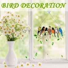 Multicolorido pássaros em um fio alto manchado suncatcher janela painel pássaro série ornamentos pingente colorido pássaro decoração para casa presente