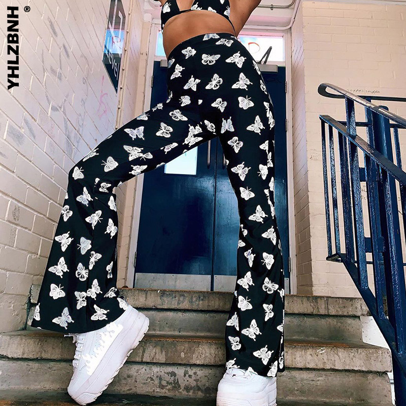 YHLZBNH Butterfly Print High Waist Long Trousers for Women Fashion Ladies Casual Pants Streetwear Club Party Straight Trousers