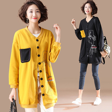 New Loose Printing Cardigan Women Long Oversized Hoodie Spring Sweatshirt Coat Womens Hoodies Plus Size 5XL Kpop Clothes Hot drop shoulder oversized hoodie cardigan
