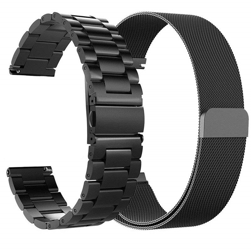 Watchband Sets for Samsung galaxy watch active 2 40mm 44mm bands 20mm Stainless Steel Metal bracelet wrist strap for amazfit bip