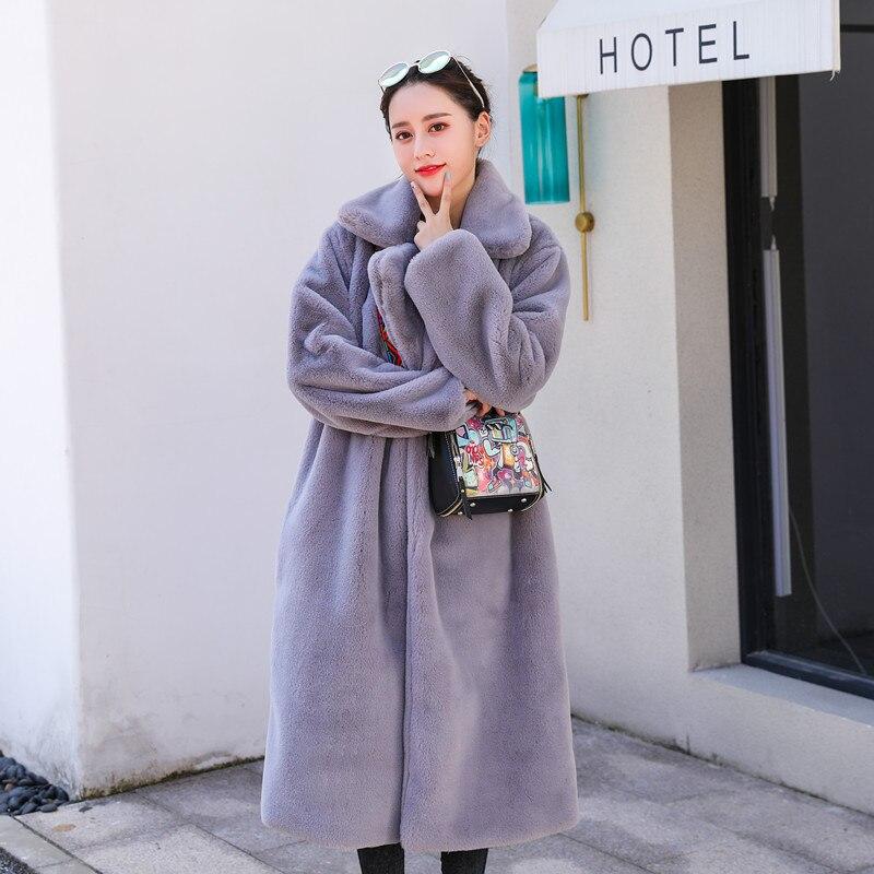 Зимняя новинка Женская мода Стиль чистый цвет теплый толстый искусственный мех кролика пальто XHSD-426 - Цвет: Grey