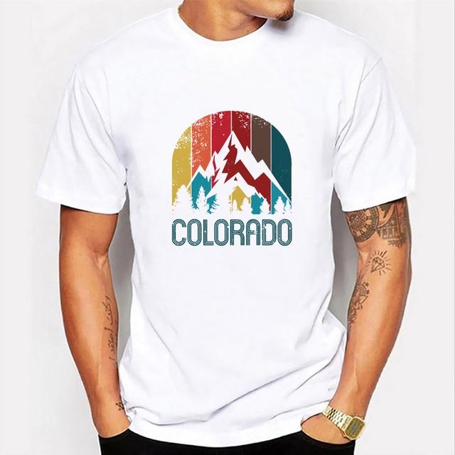 Casual Print T-shirt Men Summer Fashion Short Sleeve O-neck Basic Weekend Streetwear Sport Colorado Kawaii Graphic T Shirts Male