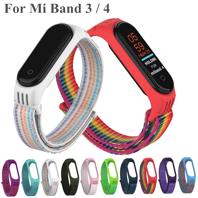 Replaceable Nylon Bracelet For Xiaomi Mi Band 3 4 Strap Nylon Silicone Sport Wristband For Mi Band 3 Band 4 Smart Watch Strap