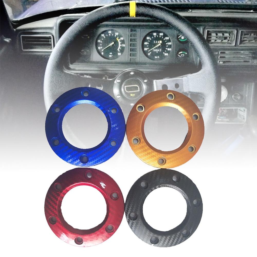 Accesorios universales para coche, cubierta de bocina de volante de coche de carreras negra/roja/azul + cubierta de botón de bocina de fibra de carbono