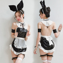 Danevgle black and white sexy bunny girl passion temptation nightdress 8 piece lady maid style