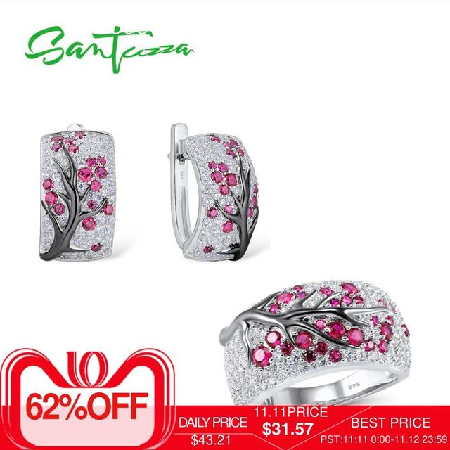 SANTUZZA Silver Jewelry Set for Women Shiny Pink Tree Earrings Ring Set 925 Sterling Silver Fashion Jewelry