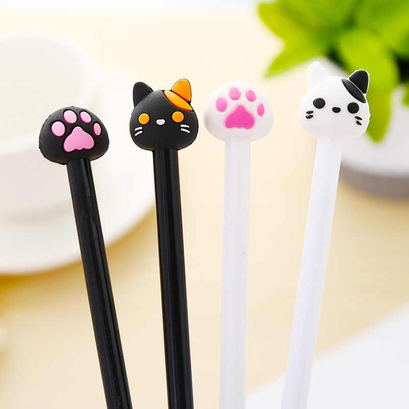 12 قطعة/المجموعة الكورية القط Kawaii هلام الأقلام لطيف مخلب الأبيض أسود أزرق القلم القرطاسية حقيبة مقلمة للأقلام مضحك الجدة بارد المواد شيء