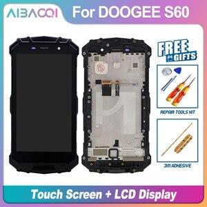 Image 1 - AiBaoQi جديد الأصلي 5.2 بوصة شاشة تعمل باللمس 1920X1080 شاشة الكريستال السائل الإطار الجمعية استبدال ل Doogee S60/S60 لايت الهاتف