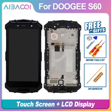 Doogee S60/S60 Lite 전화를위한 AiBaoQi 새로운 오리지널 5.2 인치 터치 스크린 + 1920X1080 LCD 디스플레이 + 프레임 어셈블리 교체