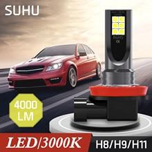 SUHU 2 adet H11 H8 H9 LED sis far dönüşüm kiti Premium 3000K 4000LM sarı lambalar Canbus Led far ampulü araba aksesuarları