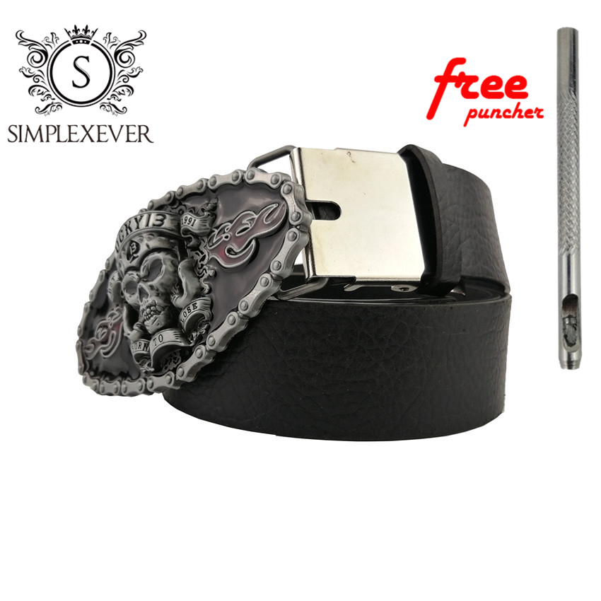 Skull Cowboy Gift Belt Buckle For Men Silver Skull Metal Belt Buckle Suit For 4cm Width Loop Drop Shipping