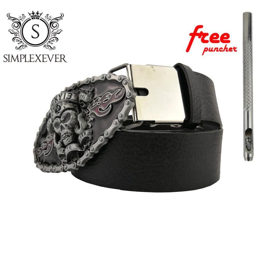 Skull Cowboy Gift Belt Buckle For Men Silver Skull Metal Belt Buckle Suit For 4cm Width Loop Drop Shipping