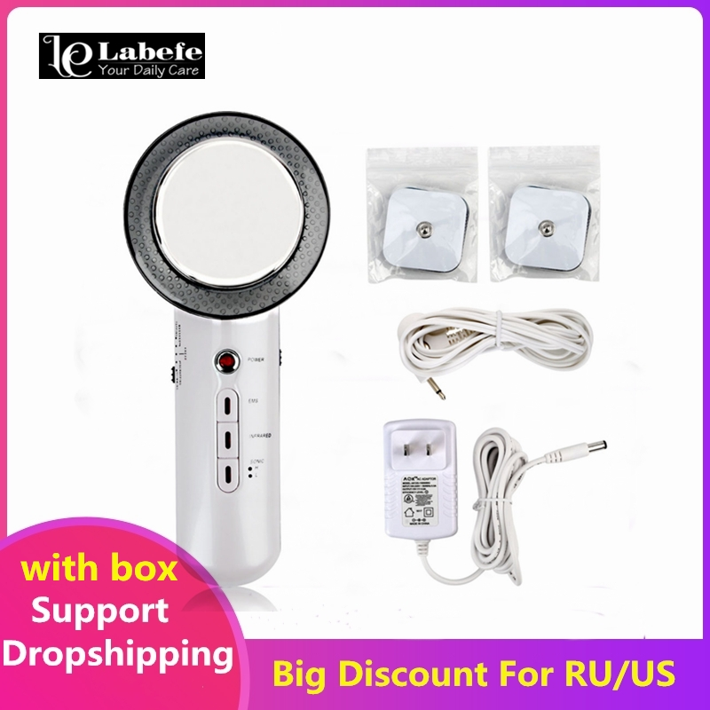 3in1 Ultrasound Face Body Massager EMS Infrared Heat Therapy Facial Lifting Body Slimming Cavitation Machine Radiofrequency ToolFace Skin Care Machine   -