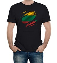 Mens Torn Lithuania Flag T Shirt Lithuanian Vilnius Country national sport(China)