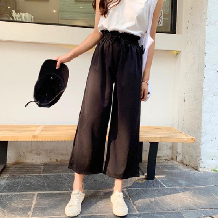 Photo Shoot Loose Pants Women's Thin Capri Chiffon Knit Pants Slimming High-waisted Korean-style Drape Pendant Sense Straight-Cu