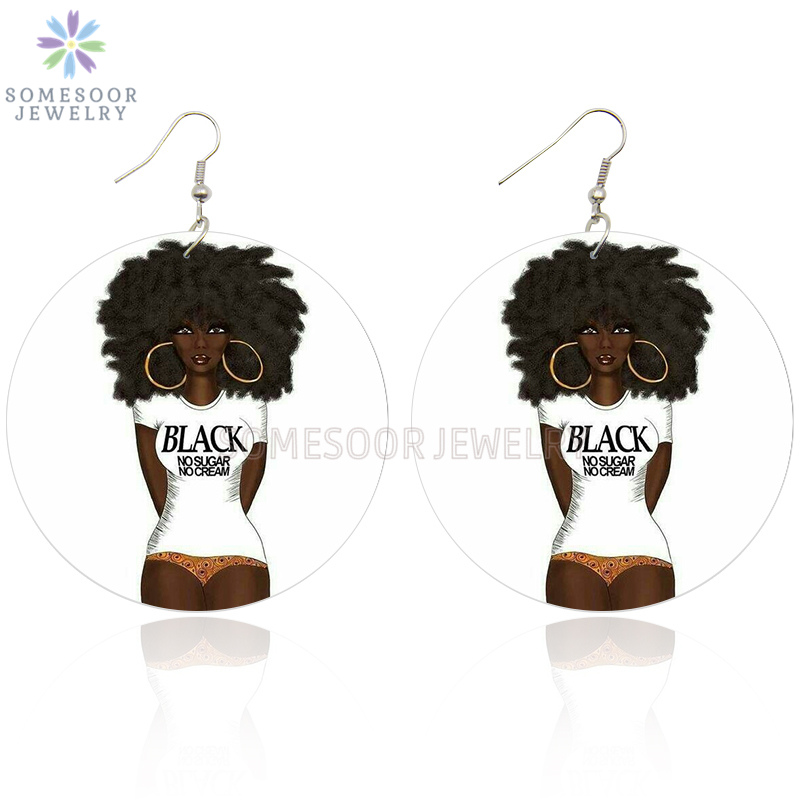 SOMESOOR Printing Afro Curly Girl African Wooden Earrings Black No Sugar No Cream Saying Natural Hair Design Jewelry For Women