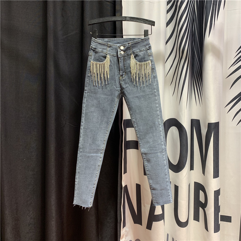 Buckle Diamond Chain Tassel Cool Denim Pants 2020 Spring Autumn New High Waist Slim Fit Pants Jeans Women's High Streetwear Jean
