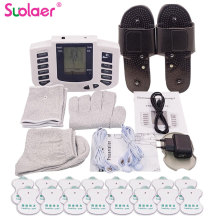 Russian/English Electrical Muscle Relax Stimulator Therapy Massager 16 Pads Pulse Tens Acupuncture Pain Relief Glove Sock Bracer