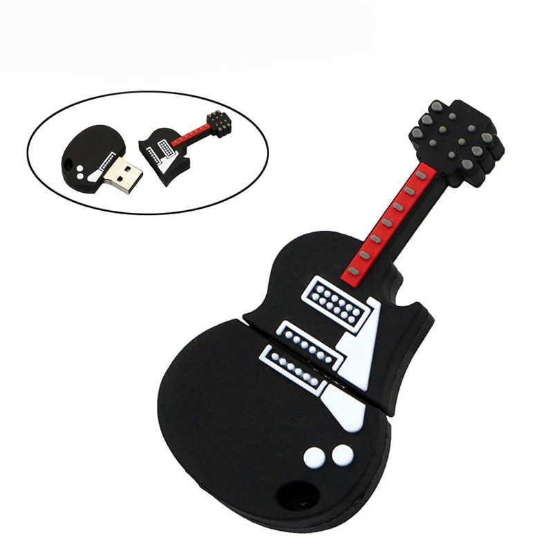 פלאש U דיסק שחור מוסיקה חשמלי גיטרה אגודל כונני Pendrive 256GB 64 16 32 4 8 256 gb 128GB עט כונן USB2.0 זיכרון מקל